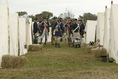 Re-enactment of Revolutionary War Encampment Stock Photo
