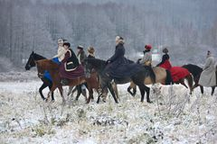 Re-enactment of the traditional hunting with russian wolfhounds. Minsk region, Belarus - November 5: Historical reconstruction of the traditional hunting with Stock Photography