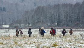 Re-enactment of the traditional hunting with russian wolfhounds. Minsk region, Belarus - November 5: Historical reconstruction of the traditional hunting with Stock Image