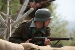 Re-enactment of the WWII Battle at Orechov stock images