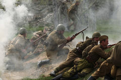 Re-enactment of the WWII Battle at Orechov stock photography