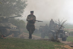 Re-enactment of the WWII Battle at Orechov Royalty Free Stock Images