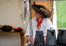 re-enactor comerciante 1700 Foto de archivo