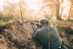 Re-enactor Dressed As German Wehrmacht Infantry Soldier In World Stock Photos