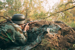Re-enactor Dressed As German Wehrmacht Infantry Soldier In World Stock Photography
