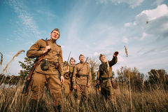 Re-enactor Dressed As Russian Soviet Infantry Soldier Of World War II Royalty Free Stock Photo