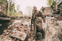 Re-enactor Dressed As Soviet Russian Red Army Infantry Soldier O Stock Image