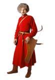Re-enactor no traje do guerreiro tatar. imagens de stock royalty free
