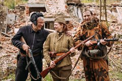 Re-enactors Dressed As Russian Soviet Red Army Crew Member And S Royalty Free Stock Photography