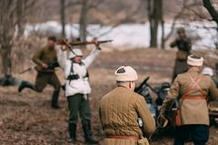 Re-enactors Dressed As Russian Soviet Soldiers Of World War II P royalty free stock photography
