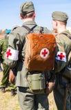 Re-enactors non identifié habillé en tant que WI militaires allemands d'infirmier Photo libre de droits