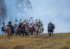 Re-Enactors op het Grietslagveld voor de wederopbouw van slag 1812 van de Berezina-rivier, Wit-Rusland Royalty-vrije Stock Afbeelding