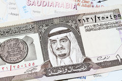 Re Fahd On una banconota dal 1 Riyal Immagini Stock Libere da Diritti