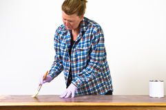 Re-finishing a table Stock Photo