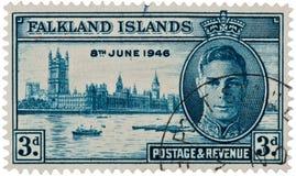 Re George VI - bollo delle isole di Malvinas Immagini Stock Libere da Diritti
