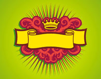 We're Gonna Groove. Yellow Scroll And Crown On Green Background Stock Image