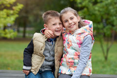 They`re happy little siblings Royalty Free Stock Photo