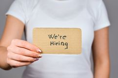 We`re Hiring advertise stock images