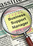 We`re Hiring Business Support Manager. 3D. Illustration of Searching Job of Business Support Manager in Newspaper with Magnifying Glass. Newspaper with Vacancy Stock Images