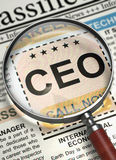 We`re Hiring CEO. 3D. Stock Image