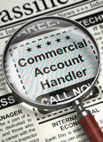 We`re Hiring Commercial Account Handler. 3D. Commercial Account Handler - Searching Job in Newspaper. Commercial Account Handler - Close Up View of Searching Royalty Free Stock Photos