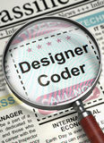 We`re Hiring Designer Coder. 3D. Designer Coder. Newspaper with the Small Advertising. Designer Coder - Close Up View Of A Classifieds Through Magnifying Lens Stock Images
