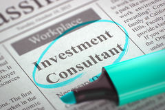 We`re Hiring Investment Consultant. 3D. Stock Images