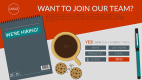 We're hiring join our team landing page banner. With flat lay notebook, pen, coffee cup and cookies, and a registration form with cv attachment button Royalty Free Stock Images