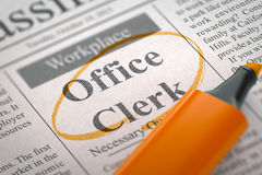 We`re Hiring Office Clerk. 3D. Royalty Free Stock Images