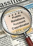 We`re Hiring Public Relations Account Coordinator. 3D. Public Relations Account Coordinator. Newspaper with the Classified Ad. Public Relations Account Royalty Free Stock Image