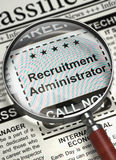 We`re Hiring Recruitment Administrator. 3D. Recruitment Administrator - Close View Of A Classifieds Through Loupe. Recruitment Administrator - Close View of Stock Images