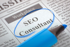 We're Hiring SEO Consultant. 3D. Royalty Free Stock Photos