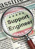 We`re Hiring Support Engineer. 3D. Column in the Newspaper with the Vacancy of Support Engineer. Support Engineer - Close Up View Of A Classifieds Through Royalty Free Stock Photos
