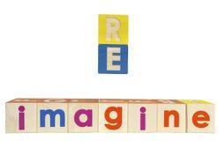 RE IMAGÍNESE los bloques de texto del concepto foto de archivo libre de regalías