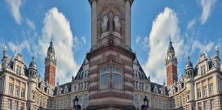 re-ingebeeld absurd mirorred beeld, de Architectuur van Brussel stock illustratie