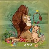 Re leone sveglio del fumetto con il bambino illustrazione vettoriale