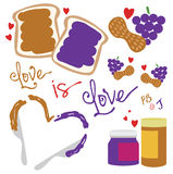Were Like Peanut Butter and Jelly. We go together like PB and J!  Vector, fully editable Royalty Free Stock Image