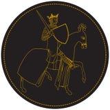 Re medievale Knight, equipaggia a cavallo con la corona e la spada Vecchio bollo nel cerchio Fotografia Stock Libera da Diritti