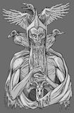 Re morto con gli uccelli illustrazione di stock