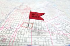 We're moved. We've moved pin flag on map Royalty Free Stock Photography