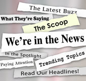 We're in the News Ripped Torn Newspaper Headlines Attention. We're in the News words on newspaper headlines with other phrases like Paying attention, the latest Stock Photo