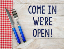 We're open cafe or restaurant sign Stock Photos