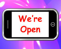 We're Open On Phone Shows New Store Launch Stock Photos