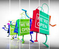 We're Open Shopping Bags Show Shopping Availability and Grand Op Stock Photos