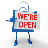 We're Open Sign on Bag Shows New Store Launch Or Opening Royalty Free Stock Photos