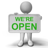 We're open Sign Showing New Store Launch Royalty Free Stock Images