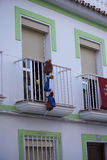 3 re pagano ad una visita a Frigiliana un vecchio villaggio di moresco sopra Nerja su Costa del Sol in Spagna del sud Fotografie Stock Libere da Diritti
