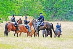 Re-promulgação da guerra civil com cavalos fotografia de stock