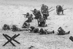 Re-promulgação da segunda guerra mundial Blyth, Northumberland, Inglaterra 16 05 2013 Fotografia de Stock