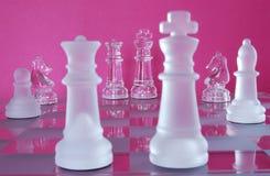 Re Queen Battle di scacchi Immagini Stock